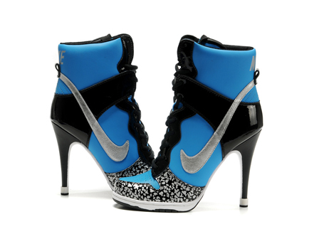 Dunk High Heels Black Blue Diamond, nike high heels black blue